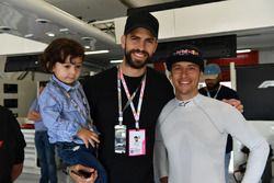 Patrick Friesacher, F1 Experiences 2-Seater driver with Gerard Pique, Barcelona FC footballer in the F1 Experiences 2-Seater garage