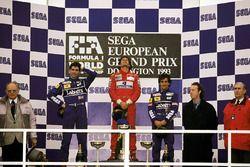 Race winner Ayrton Senna, McLaren, second place Damon Hill, Williams, third place Alain Prost, Williams