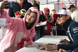 Force India fan dressed as Pink Panther with Esteban Ocon, Force India F1