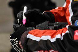 Cole Custer, Stewart-Haas Racing, Ford Mustang Code 3 Associates crew member marks his speed gun