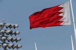 The Bahrain flag flies above the circuit