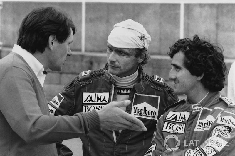 John Barnard habla con Niki Lauda, McLaren y Alain Prost, McLaren