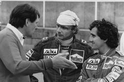 Niki Lauda, McLaren, und Alain Prost, McLaren, mit John Barnard, McLaren-Designer
