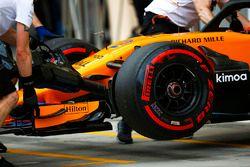 Degli ingegneri McLaren spostano la monoposto di Stoffel Vandoorne, McLaren MCL33 Renault