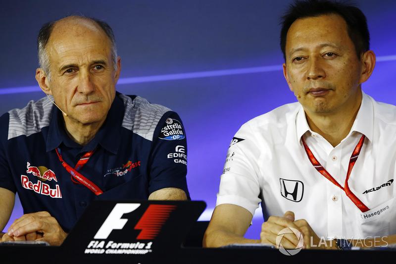 Franz Tost, Team Principal, Scuderia Toro Rosso, Yusuke Hasegawa, Senior Managing Officer, Honda, in the press conference