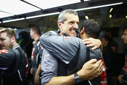 Haas team members, including Guenther Steiner, Team Principal, Haas F1,  celebrate their points finishing results