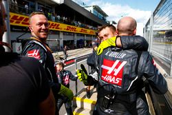 Haas F1 engineers celebrate the teams best finish to date