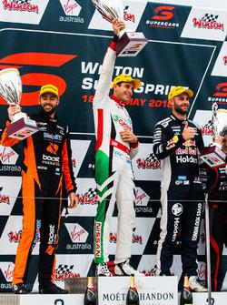 Podium: race winner Rick Kelly, Nissan Motorsport, second place Scott Pye, Walkinshaw Andretti United Holden, third place Shane van Gisbergen, Triple Eight Race Engineering Holden