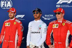 Sebastian Vettel, Ferrari, Lewis Hamilton, Mercedes-AMG F1 en Kimi Raikkonen, Ferrari in parc ferme