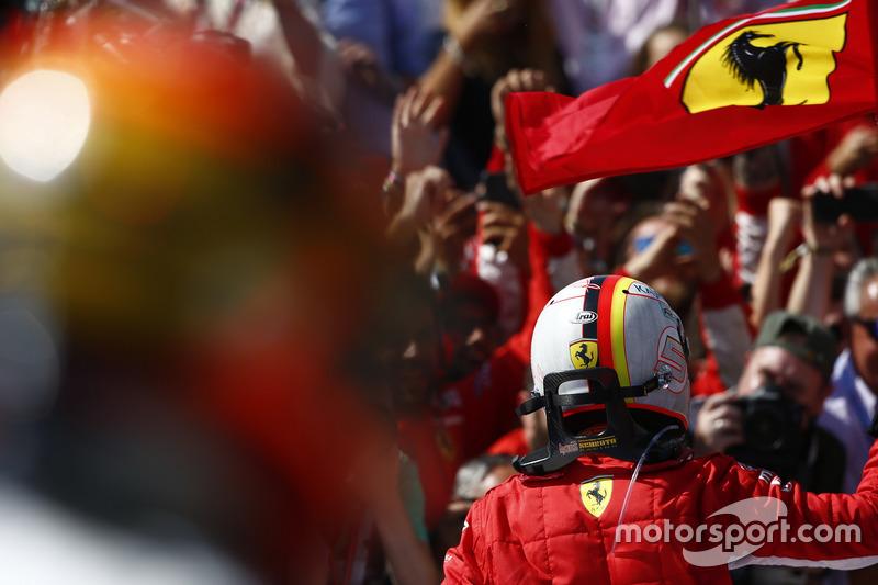 Sebastian Vettel, Ferrari, celebrates in Parc Ferme