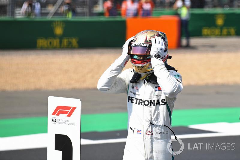 Lewis Hamilton, Mercedes-AMG F1 celebrates pole position in parc ferme