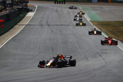 Max Verstappen, Red Bull Racing RB14, leads Daniel Ricciardo, Red Bull Racing RB14, and Kimi Raikkonen, Ferrari SF71H