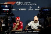 Sebastian Vettel, Ferrari and Lewis Hamilton, Mercedes-AMG F1 in the Press Conference