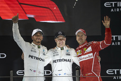 Podium: Second place Lewis Hamilton, Mercedes AMG F1, Race winner Valtteri Bottas, Mercedes AMG F1,