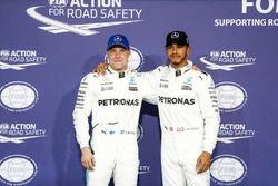 Eerste rij voor Valtteri Bottas, Mercedes AMG en Lewis Hamilton, Mercedes AMG