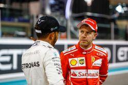 Lewis Hamilton, Mercedes AMG F1 and Sebastian Vettel, Ferrari after qualfying