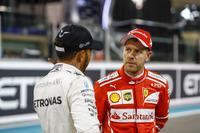 Lewis Hamilton, Mercedes AMG F1 en Sebastian Vettel, Ferrari