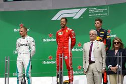 Valtteri Bottas, Mercedes-AMG F1, Sebastian Vettel, Ferrari and Max Verstappen, Red Bull Racing on the podium