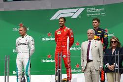 Valtteri Bottas, Mercedes-AMG F1, Sebastian Vettel, Ferrari and Max Verstappen, Red Bull Racing on the podium