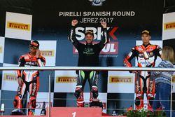 Podium: Marco Melandri, Ducati Team, Jonathan Rea, Kawasaki Racing, Marco Melandri, Ducati Team