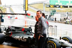Guenther Steiner, Team Principal, Haas F1 Team, Gene Haas, Team Owner, Haas F1 Team, at the Haas F1 Teams home race photo call