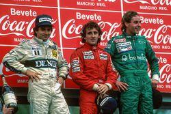Podio: il vincitore della gara Alain Prost, il secondo classificato Nelson Piquet, il terzo classifi