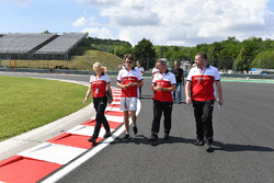 Charles Leclerc, Sauber walks the track with Ruth Buscombe, Sauber Race Strategist and Xevi Pujolar, Sauber Head of Track Engineering
