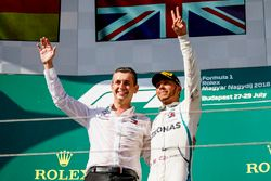 Mercedes AMG F1 Team Member and Lewis Hamilton, Mercedes AMG F1 celebrate on the podium
