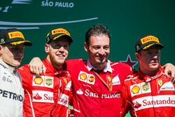Second place Valtteri Bottas, Mercedes AMG F1, Race winner Sebastian Vettel, Ferrari, Giuseppe Vieti