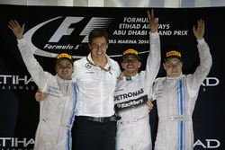 Podium: second place Felipe Massa, Williams, Toto Wolff, Executive Director, Mercedes AMG, Race winner Lewis Hamilton, Mercedes AMG, third place Valterri Bottas, Williams