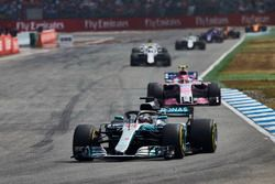 Lewis Hamilton, Mercedes AMG F1 W09, leads Esteban Ocon, Force India VJM11