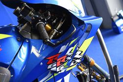 Dettaglio della carena sulla moto di Alex Rins, Team Suzuki MotoGP