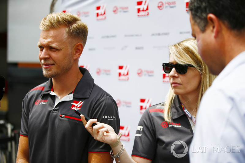 Kevin Magnussen, Haas F1 Team, talks to the media, including Ted Kravitz of Sky