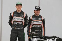 Sergio Perez, Sahara Force India F1, Alfonso Celis Jr., Sahara Force India F1, und Nico Hülkenberg,