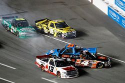 Crash: Cameron Hayley, ThorSport Racing Toyota; Christopher Bell, Kyle Busch Motorsports Toyota; Spe
