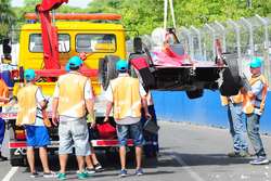 The crashed car of Loic Duval, Dragon Racing