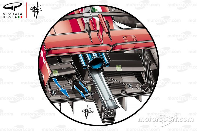 Отверстия для выхода воздуха в задней части Ferrari SF71H