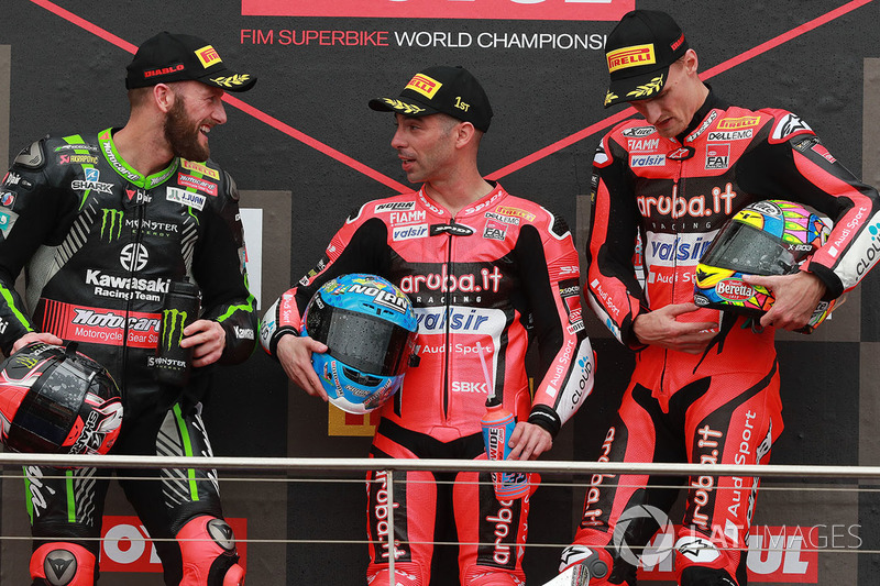 Podium: race winner Marco Melandri, Aruba.it Racing-Ducati SBK Team, second place Tom Sykes, Kawasaki Racing, third place Chaz Davies, Aruba.it Racing-Ducati SBK Team