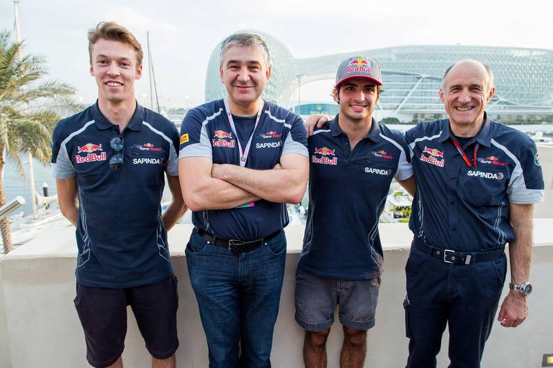 Serguei Beloussov avec Daniil Kvyat, Toro Rosso, Carlos Sainz Jr., Toro Rosso et Franz Tost, team principal Scuderia Toro Rosso