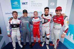 Super Pole drivers Sam Bird, DS Virgin Racing, Mitch Evans, Jaguar Racing, Felix Rosenqvist, Mahindr