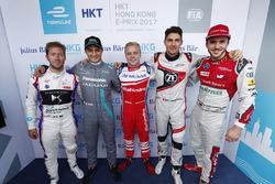 Super Pole pilotları Sam Bird, DS Virgin Racing, Mitch Evans, Jaguar Racing, Felix Rosenqvist, Mahin