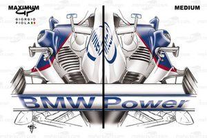 BMW Sauber F1.06 2006 sidepod louvre comparison