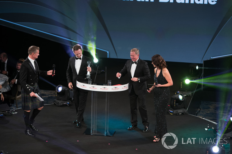 Christian Horner and Martin Brundle on stage with Presenters Lee McKenzie and David Coulthard