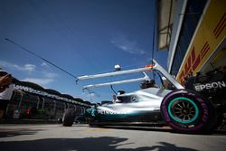 Lewis Hamilton, Mercedes AMG F1 W09, leaves the garage