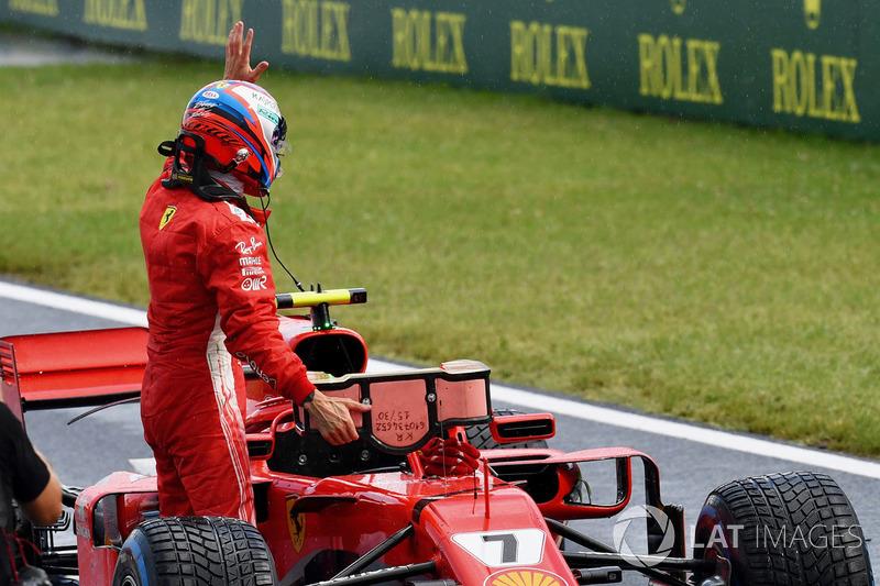 Kimi Raikkonen, Ferrari SF71H celebrates in parc ferme