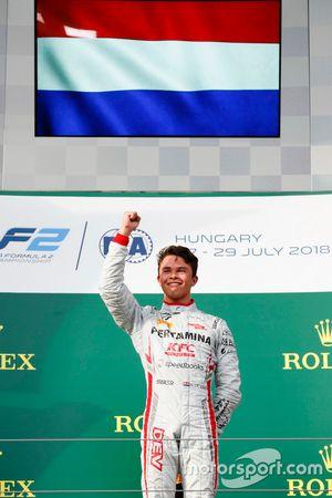 Nyck De Vries, PREMA Racing celebrates on the podium after winning the race