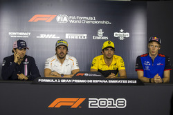 Sergio Perez, Force India, Fernando Alonso, McLaren, Carlos Sainz Jr., Renault Sport F1 Team and Brendon Hartley, Scuderia Toro Rosso in the Press Conference