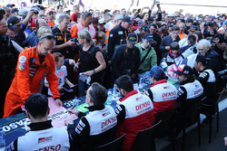 Sébastien Buemi, Kazuki Nakajima, Fernando Alonso, Mike Conway, Jose Maria Lopez, Kamui Kobayashi Toyota Gazoo Racing during autograph session