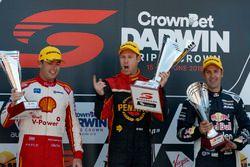 Podium: Race winner David Reynolds, Erebus Motorsport Holden, second place Scott McLaughlin, DJR Team Penske Ford, third place Jamie Whincup, Triple Eight Race Engineering Holden