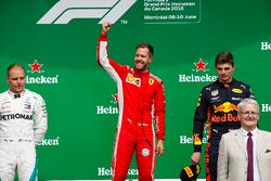 Valtteri Bottas, Mercedes AMG F1, 2nd position, Sebastian Vettel, Ferrari, 1st position, and Max Ver